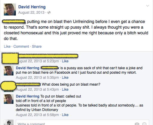 David's homophobic rant on facebook.