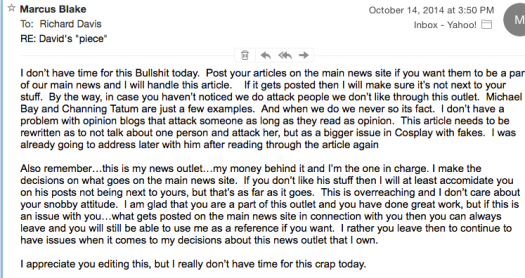 Screen shot of email response from Marcus Blake